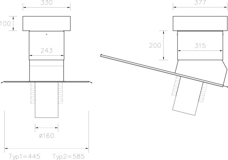 STW Ventilationshuv 160 125 Plannja typ 1+2 EPS